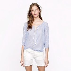 J. Crew Chambray Dot Peasant Top